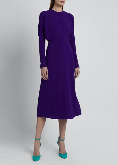 Crewneck Long-Sleeve Midi Cady Dress