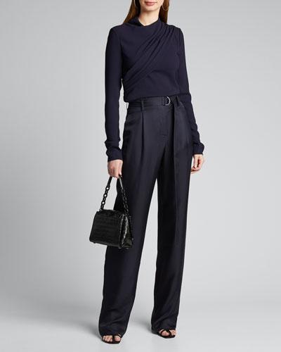 Silk High-Rise Belted Wide-Leg Pants
