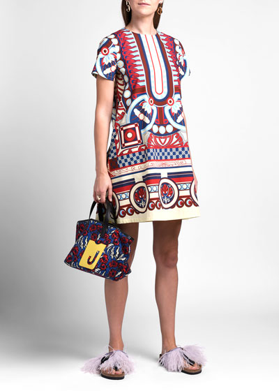Geometric Short-Sleeve Mini Swing Dress