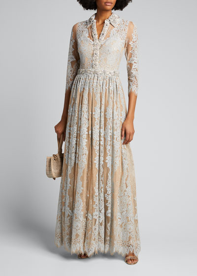 Lace Shirtdress Gown