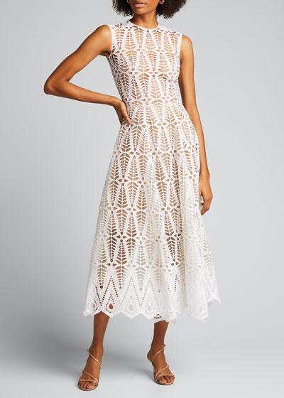 Cotton Lace Midi Dress