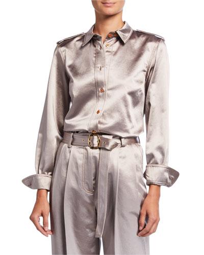 Button-Front Sateen Shirt