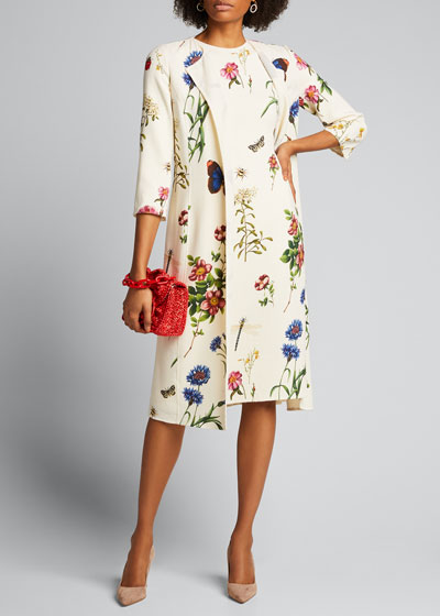 Floral-Print Crepe 3/4-Sleeve Collared Coat