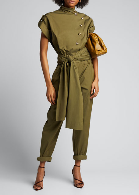 Military Asymmetric Button-Front Jumpsuit