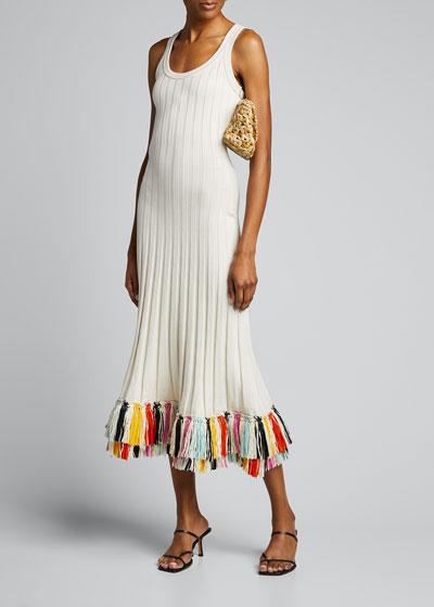 Silk Knit Dress with Fringe-Hem