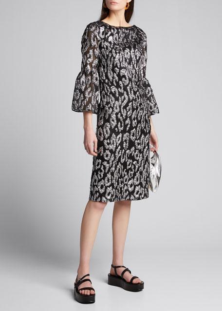 Leopard Jacquard Flutter-Sleeve Dress