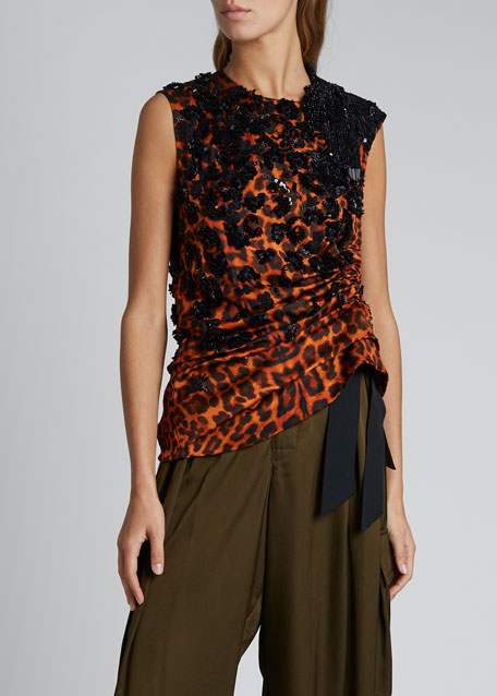 Leopard Embroidered Ruched Top