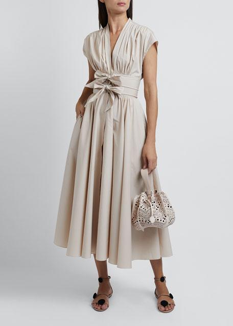 Short-Sleeve Poplin Dress with Two-Bow Waist Detail