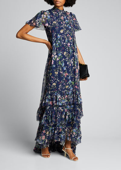 Aurelio Floral Print Mock-Neck Gown