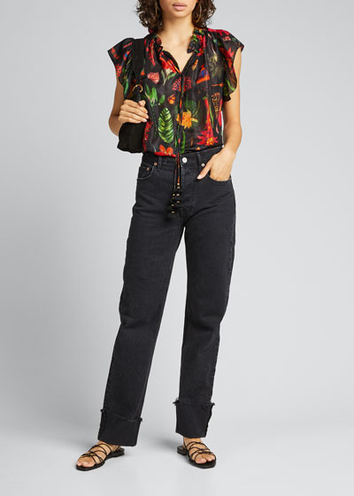 Marguerita Tropical-Print Silk Blouse
