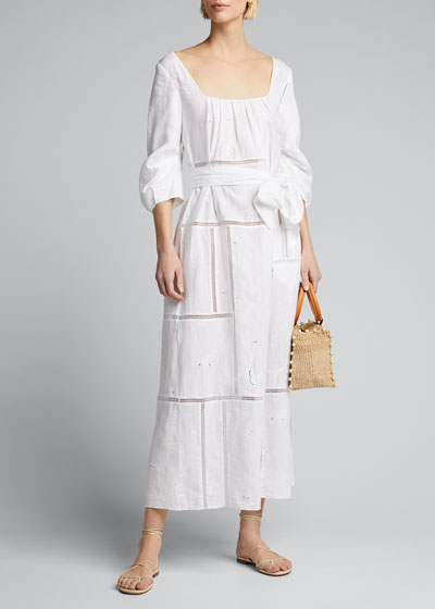 Daphine Insect-Embroidered Linen Dress