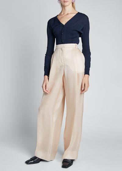 Silk Gazar High-Rise Wide-Leg Pants