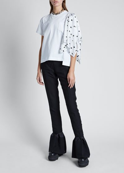 T-shirt with Polka-Dot Sleeve