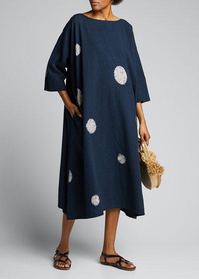 3/4-Sleeve Wide A-Line Dress