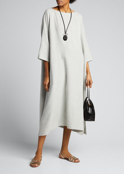 3/4-Sleeve Wide A-Line Dress