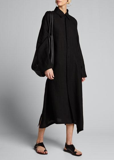 Linen Wide A-Line Shirtdress