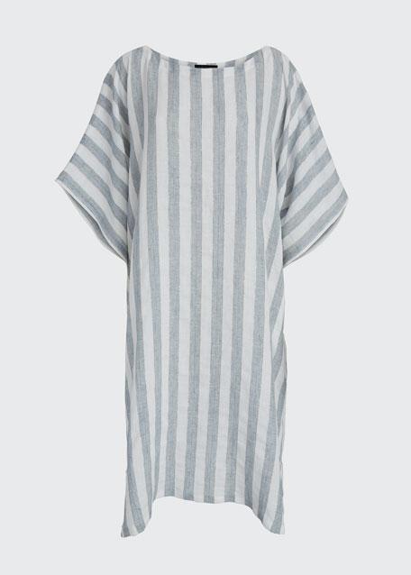 Striped Linen Kaftan Dress
