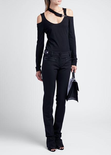 Skinny Splittable Wool Pants With Leather Tab Detail