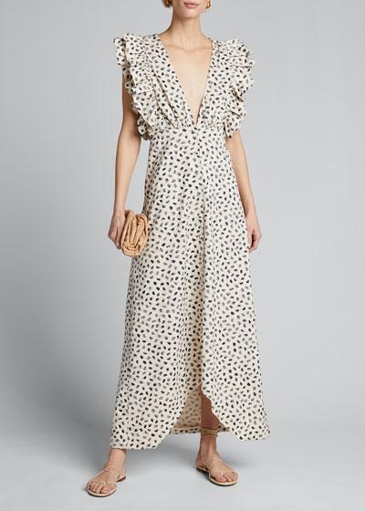 Leopard-Print Ruffled Dress