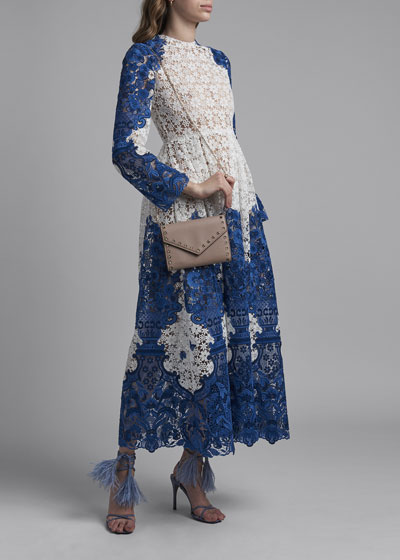 Long-Sleeve Embroidered Lace Maxi Dress