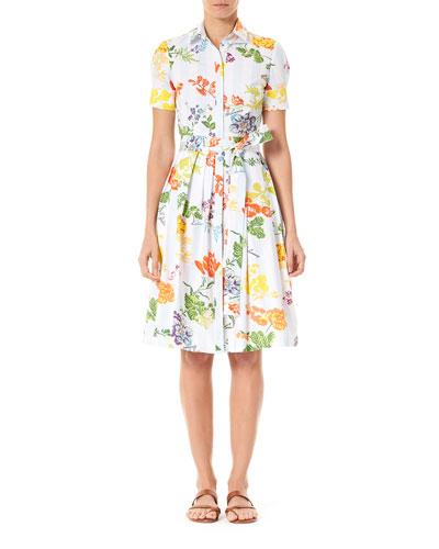 Floral Bow-Waist Shirtdress