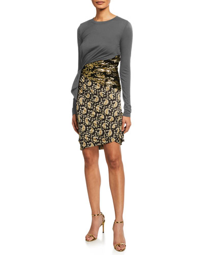 Jersey Paisley Skirt Bodycon Dress