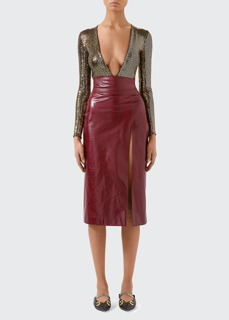 Image 1 of 1: High Waisted Shiny Leather Skirt with Front Slit
