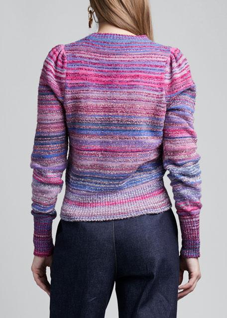 Striped Alpaca-Knit Crewneck Sweater