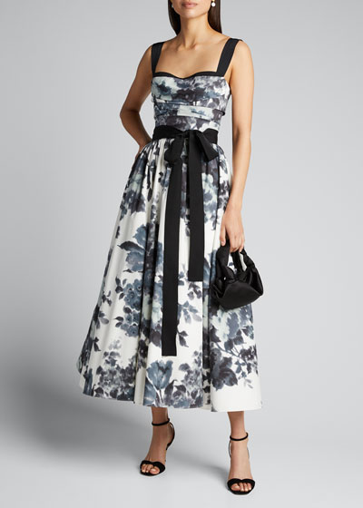 Floral-Print Sweetheart-Neck Tea-Length Dress