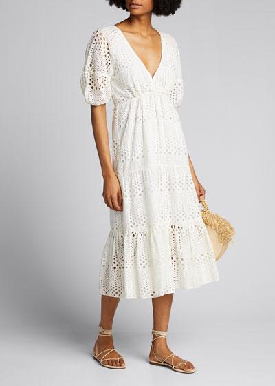 Marisela Half-Sleeve Eyelet Dress