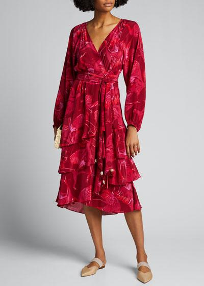 Kira Floral Print Georgette Midi Dress