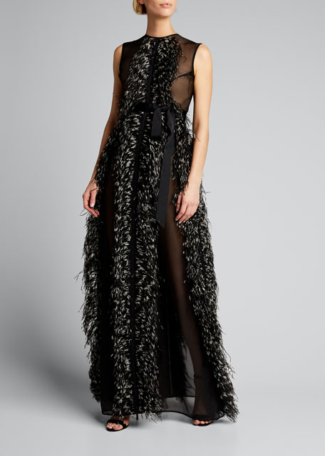 Image 1 of 1: Beau Feathered Tulle Sleeveless Gown