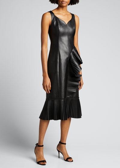 Alania Faux-Leather Pleated Dress