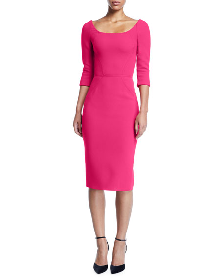 Bateau-Neck 3/4-Sleeve Body-Con Crepe Daytime Dress