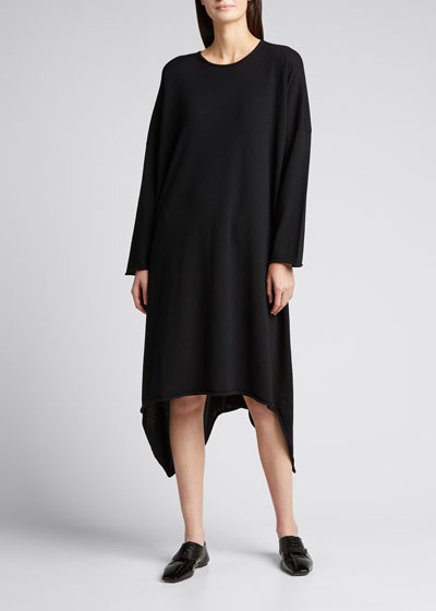 Asymmetric Cashmere Midi Dress