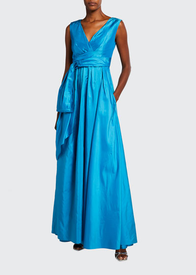 Boo Draped Fit-&-Flare Silk Gown