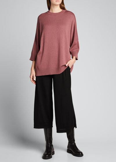 3/4-Sleeve Sloped Shoulder Sweater