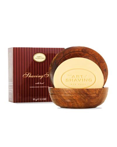 Shaving Soap with Wooden Bowl, Sandalwood