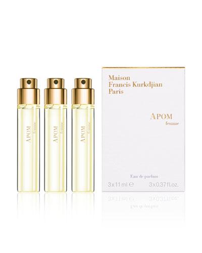 APOM femme Eau de Parfum Travel Spray Refills, 3 x 0.37 oz./ 11 mL