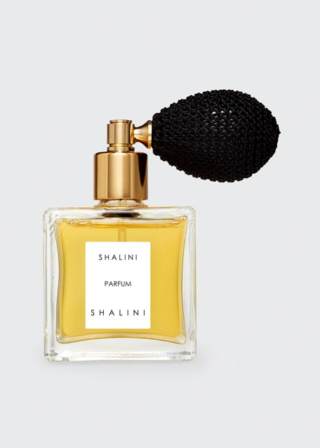 Shalini Parfum Cubique Glass Bottle with Black Bulb Atomizer, 1.7 oz. 50 mL