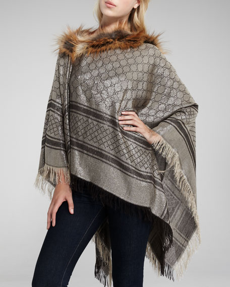 Fox Fur-Trim Poncho