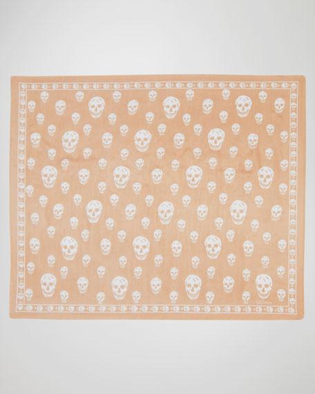 Skull-Print Chiffon Scarf, Beige/Ivory