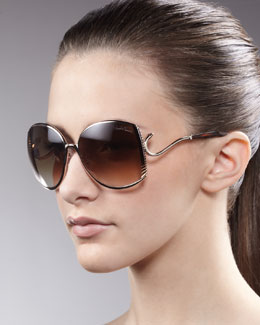 Roberto Cavalli Snake-Temple Sunglasses, Rose Golden