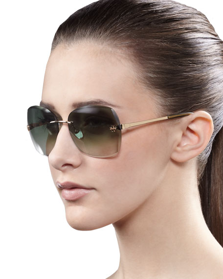Rimless Gradient Sunglasses, Olive