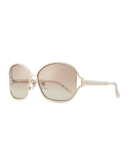 Shiny Metal-Frame Sunglasses
