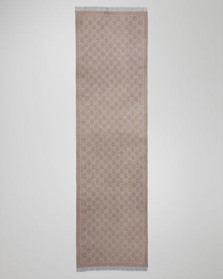 GG Woven Scarf, Light Gray
