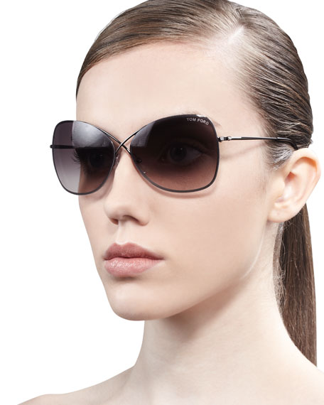 bf553e691dc Tom Ford Colette Metal-Frame Butterfly Sunglasses