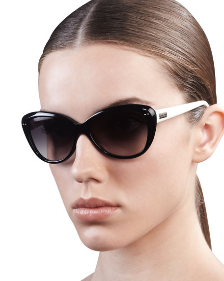 angelique cat-eye sunglasses, pink/orange