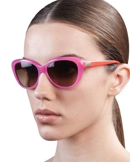 angelique cat-eye sunglasses, tortoise/blush