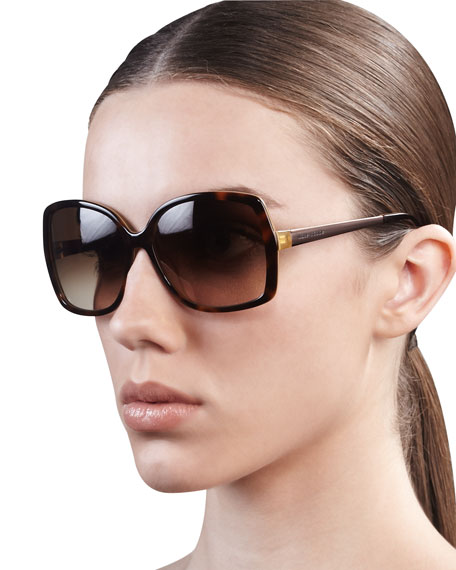 darrys oversize-square sunglasses, brown/gray